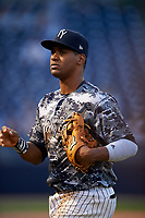Tampa Yankees third baseman Abiatal Avelino (22) during a game against the Bradenton Marauders on April 15, 2017 at George M. Steinbrenner Field in Tampa, Florida.  Tampa defeated Bradenton 3-2.  (Mike Janes/Four Seam Images)