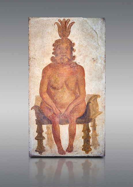Roman fresco wall painting from the Sacrarium of the Temple of Isis in Pompeii depicting the Egyptian god Bes, God of war but also childbirth and the home, and was associated with sexuality, humour, music and dancing, North wall of Sacrarium, Naples National Archaeological Museum , inv 1.72 , Naples National Archaeological Museum , grey background