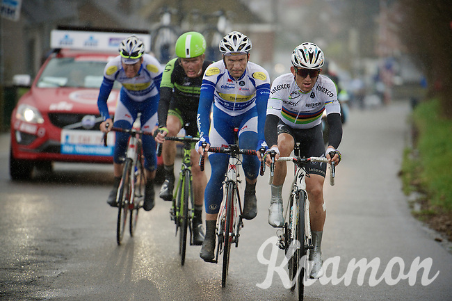 World Champion Michal Kwiatkowski (POL/Ettix-Quickstep) leads the race <br /> <br /> 70th Dwars Door Vlaanderen 2015
