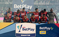 MEDELLIN - COLOMBIA, 16–10-2021: Jugadores de Deportivo Independiente Medellin posan para una foto, antes de partido entre Atletico Nacional y Deportivo Independiente Medellin de la fecha 14 por la Liga BetPlay DIMAYOR II 2021, en el estadio Atanasio Girardot de la ciudad de Medellin. / Players of Deportivo Independiente Medellin pose for a photo, prior a match between Atletico Nacional, and Deportivo Independiente Medellin of the 14th date for the BetPlay DIMAYOR II 2021 League at the Atanasio Girardot stadium in Medellin city. / Photo: VizzorImage / Donaldo Zuluaga / Cont.