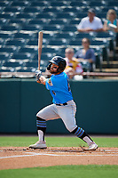 Akron RubberDucks Ka'ai Tom (4) at bat during an Eastern League game against the Bowie Baysox on May 30, 2019 at Prince George's Stadium in Bowie, Maryland.  Akron defeated Bowie 9-5.  (Mike Janes/Four Seam Images)