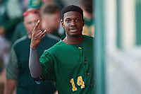 Beloit Snappers center fielder Lester Madden (14) poses for a photo during a Midwest League game against the Lansing Lugnuts at Cooley Law School Stadium on May 4, 2019 in Lansing, Michigan. Beloit defeated Lansing 2-1. (Zachary Lucy/Four Seam Images)