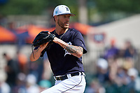 Detroit Tigers relief pitcher Shane Greene (61) delivers a pitch during a Grapefruit League Spring Training game against the Atlanta Braves on March 2, 2019 at Publix Field at Joker Marchant Stadium in Lakeland, Florida.  Tigers defeated the Braves 7-4.  (Mike Janes/Four Seam Images)