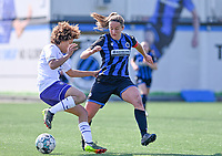 Kassandra Missipo (12) of Anderlecht pictured in a duel with Ellen Martens (2) of Club Brugge during a female soccer game between Club Brugge Dames YLA and RSC Anderlecht on the fourth matchday in Play-Off 1 of the 2020 - 2021 season of Belgian Scooore Womens Super League , saturday 1st May 2021  in Brugge , Belgium . PHOTO SPORTPIX.BE | SPP | DAVID CATRY