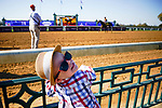 November 6, 2020: A young attendee watches racehorses on the track at Keeneland Racetrack in Lexington, Kentucky, on Friday, November 6, 2020. Scott Serio/Eclipse Sportswire/Breeders Cup/CSM