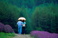 Couple walking through rain in lavender field