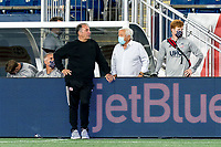 FOXBOROUGH, MA - SEPTEMBER 23: New England Revolution coach Bruce Arena talks with Robert Kraft during a game between Montreal Impact and New England Revolution at Gillette Stadium on September 23, 2020 in Foxborough, Massachusetts.