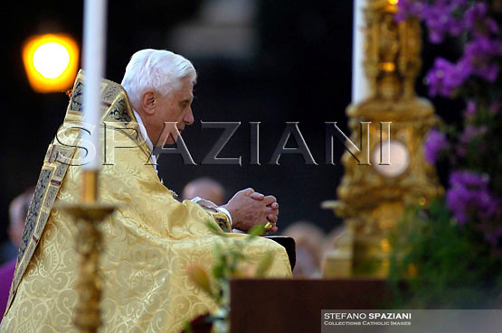 Pope Benedict XVI leads the Corpus Domini procession in an open van from St. John at the Lateran Basilica to St. Mary Major Basilica to mark the feast of the Body and Blood of Christ, in Rome, Thursday, June 7, 2007. Pope Benedict celebrated the evening Mass at St. John Lateran Basilica then traveled a short distance in a procession to St. Mary Major Basilica.