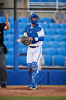 Dunedin Blue Jays catcher Riley Adams (23) during a game against the Fort Myers Miracle on April 17, 2018 at Dunedin Stadium in Dunedin, Florida.  Dunedin defeated Fort Myers 5-2.  (Mike Janes/Four Seam Images)