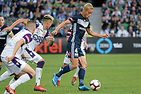 Melbourne, February 10, 2019 - Keisuke Honda of Melbourne Victory in action in the round 18 match of the A-League between Melbourne City and Perth Glory at AAMI Park, Melbourne, Australia.