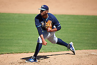 Tampa Bay Rays pitcher Luis Urena ( 37) during an instructional league game against the Baltimore Orioles on September 25, 2015 at Ed Smith Stadium in Sarasota, Florida.  (Mike Janes/Four Seam Images)