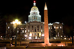 Colorado State Capitol and World War II memorial, downtown Denver, Colorado. .  John offers private photo tours in Denver, Boulder and throughout Colorado. Year-round Colorado photo tours.
