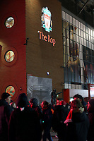 A general view of The Kopp entrance as fans arrive at Anfield<br /> <br /> Photographer Rich Linley/CameraSport<br /> <br /> UEFA Champions League Round of 16 Second Leg - Liverpool v Atletico Madrid - Wednesday 11th March 2020 - Anfield - Liverpool<br />  <br /> World Copyright © 2020 CameraSport. All rights reserved. 43 Linden Ave. Countesthorpe. Leicester. England. LE8 5PG - Tel: +44 (0) 116 277 4147 - admin@camerasport.com - www.camerasport.com