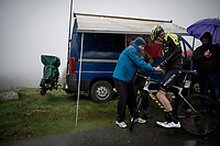 up the extremely wet, cold & misty Cole di Mortirolo <br /> <br /> Stage 16: Lovere to Ponte di Legno (194km)<br /> 102nd Giro d'Italia 2019<br /> <br /> ©kramon