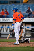 Syracuse Mets Travis Taijeron (19) bats during an International League game against the Charlotte Knights on June 11, 2019 at NBT Bank Stadium in Syracuse, New York.  Syracuse defeated Charlotte 15-8.  (Mike Janes/Four Seam Images)