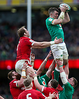 Saturday 8th February 2020 | Ireland vs Wales<br /> <br /> Peter O'Mahony steals this lineout ball during the 2020 6 Nations Championship   clash between Ireland and Wales at he Aviva Stadium, Lansdowne Road, Dublin, Ireland. Photo by John Dickson / DICKSONDIGITAL