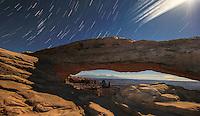 Mesa Arch, Stars, Moon & Clouds - Utah - Canyonlands NP