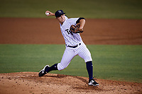 Tampa Yankees relief pitcher Andrew Schwaab (21) delivers a pitch during a game against the Fort Myers Miracle on April 12, 2017 at George M. Steinbrenner Field in Tampa, Florida.  Tampa defeated Fort Myers 3-2.  (Mike Janes/Four Seam Images)