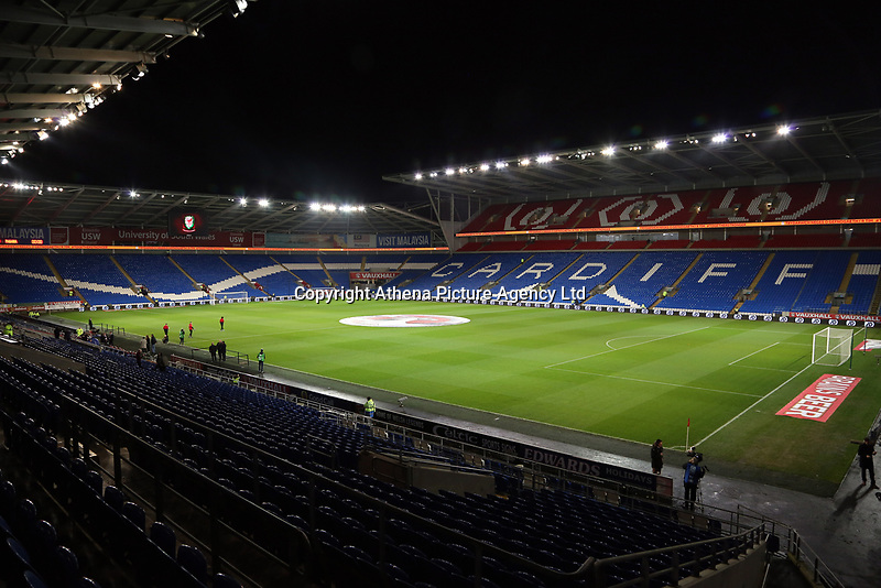 Interior view of the stadium before the international friendly soccer match between Wales and Panama at Cardiff City Stadium, Cardiff, Wales, UK. Tuesday 14 November 2017.
