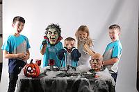Swansea City FC Halloween-themed photo shoot at the Liberty Stadium, Swansea, Wales, UK
