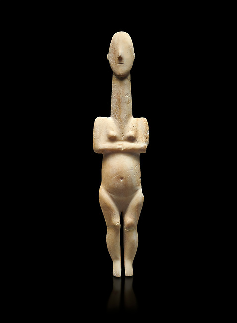 Cycladic statue figurine of the naturalistic 'Plastira' type of Paros from Glypha cemetery, grave 23, Cat no 4762. Early Cycladic Period I (Grotta-Pelos Phase 3200-2800 BC). National Archaeological Museum, Athens. Black background.<br /> <br /> This type of Cycladic figurine stand with feet lat to the ground with detailed facial features and ears to make a more realistic statue.
