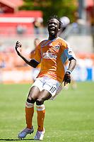 Houston Dynamo forward Kei Kamara (10) reacts to a missed goal opportunity.  Houston Dynamo defeated Colorado Rapids 1-0 at Robertson Stadium in Houston, TX on April 19, 2009.