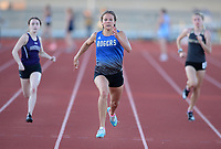 Grace Lueders (center) of Rogers comes in at the finish Friday, April 30, 2021, to win the 200 meters during the 6A-West Conference Track and Field Meet at the Tiger Athletic Complex in Bentonville. Visit nwaonline.com/210501Daily/ for today's photo gallery. <br /> (NWA Democrat-Gazette/Andy Shupe)