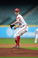 Louisiana Ragin' Cajuns starting pitcher Jack Burk (21) in action against the Vanderbilt Commodores in game five of the 2018 Shriners Hospitals for Children College Classic at Minute Maid Park on March 3, 2018 in Houston, Texas.  The Ragin' Cajuns defeated the Commodores 3-0.  (Brian Westerholt/Four Seam Images)