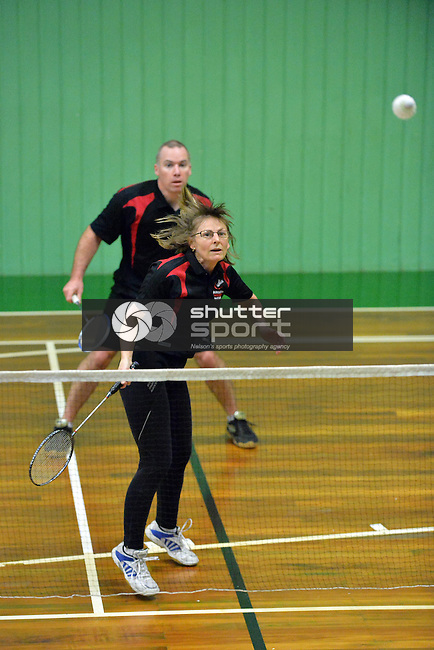 NELSON, NEW ZEALAND - SEPTEMBER 28: Badminton at the Nelson Badminton Stadium in Ricnhond during the NZCT 2015 South Island Masters Games, September 28, 2015 in Nelson, New Zealand. (Photo by Barry Whitnall/Shuttersport Limited)