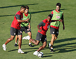 Atletico de Madrid's Luis Perea (c), Cleber Santana (l) and Pablo Ibanez (r) during training sesion. August 05 2009. (ALTERPHOTOS/Acero).