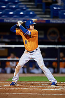 St. Lucie Mets right fielder Ian Strom (10) at bat during the second game of a doubleheader against the Charlotte Stone Crabs on April 24, 2018 at First Data Field in Port St. Lucie, Florida.  St. Lucie defeated Charlotte 6-5.  (Mike Janes/Four Seam Images)