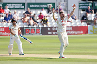 Sam Cook of Essex claims the wicket of Graeme van Buuren during Essex CCC vs Gloucestershire CCC, LV Insurance County Championship Division 2 Cricket at The Cloudfm County Ground on 7th September 2021