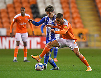 Blackpool's Jerry Yates battles with Wigan Athletic's Joe Garner<br /> <br /> Photographer Dave Howarth/CameraSport<br /> <br /> The EFL Sky Bet League One - Blackpool v Wigan Athletic - Tuesday 3rd November 2020 - Bloomfield Road - Blackpool<br /> <br /> World Copyright © 2020 CameraSport. All rights reserved. 43 Linden Ave. Countesthorpe. Leicester. England. LE8 5PG - Tel: +44 (0) 116 277 4147 - admin@camerasport.com - www.camerasport.com