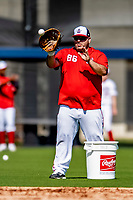 21 February 2019: Washington Nationals coach Ali Modami works works with players on drills during a Spring Training workout at the Ballpark of the Palm Beaches in West Palm Beach, Florida. Mandatory Credit: Ed Wolfstein Photo *** RAW (NEF) Image File Available ***