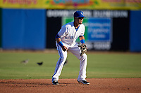 Dunedin Blue Jays shortstop J.C. Cardenas (2) during a game against the Clearwater Threshers on April 8, 2017 at Florida Auto Exchange Stadium in Dunedin, Florida.  Dunedin defeated Clearwater 12-6.  (Mike Janes/Four Seam Images)