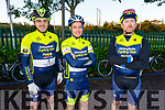 """Gerard Corridan, Chris Doody and Hugh Brogan of the Abbeyfeale Cylcling Club taking part in the Tom Crean """"Unsung Hero"""" Cycle fundraiser in the Ballyseede Garden Centre on Saturday."""
