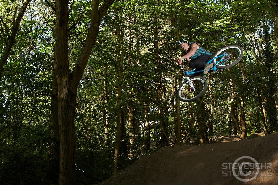 Sam Pilgrim  riding NS bike ,  4a jumps, Cove , Hampshire  April 2011 pic copyright Steve Behr / Stockfile