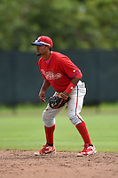 Philadelphia Phillies Jesmuel Valentin (25) during a minor league spring training intrasquad game on March 27, 2015 at the Carpenter Complex in Clearwater, Florida.  (Mike Janes/Four Seam Images)