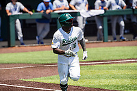 Wright State Raiders center fielder Quincy Hamilton (10) hustles to first base against the Duke Blue Devils in NCAA Regional play on Robert M. Lindsay Field at Lindsey Nelson Stadium on June 5, 2021, in Knoxville, Tennessee. (Danny Parker/Four Seam Images)