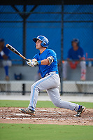 Toronto Blue Jays third baseman Davis Schneider (17) follows through on a swing during an Instructional League game against the Pittsburgh Pirates on October 14, 2017 at the Englebert Complex in Dunedin, Florida.  (Mike Janes/Four Seam Images)