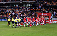 HOUSTON, TX - JANUARY 31: The USWNT enters the field during a game between Panama and USWNT at BBVA Stadium on January 31, 2020 in Houston, Texas.