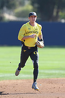 Connor Hofmann #1 of the Oregon Ducks during a game against the Loyola Marymount Lions at Page Stadium on February 23, 2014 in Los Angeles, California. Oregon defeated Loyola, 4-3. (Larry Goren/Four Seam Images)