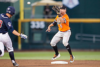Oklahoma State Cowboys shortstop Donnie Walton (5) waits for a throw at second base against the Arizona Wildcats during Game 6 of the NCAA College World Series on June 20, 2016 at TD Ameritrade Park in Omaha, Nebraska. Oklahoma State defeated Arizona 1-0. (Andrew Woolley/Four Seam Images)