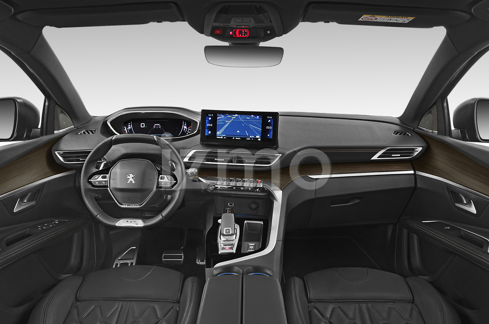 Stock photo of straight dashboard view of 2021 Peugeot 5008 GT 5 Door SUV Dashboard