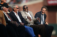 SAN FRANCISCO, CA - AUGUST 11:  Jim Leyland, Dusty Baker, and Larry Baer watch the ceremony to retire the #25 jersey of Barry Bonds before the game between the Pittsburgh Pirates and San Francisco Giants at AT&T Park on Saturday, August 11, 2018 in San Francisco, California. (Photo by Brad Mangin)