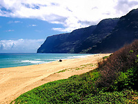 A view of Polihale Beach, aka Barking Sands, on the northeast side of Kauai, Hawaii.