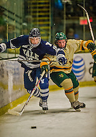 4 January 2014:  Yale University Bulldog forward Anthony Day, a Junior from Buffalo, NY, in first period action against the University of Vermont Catamounts at Gutterson Fieldhouse in Burlington, Vermont. With an empty net and seconds remaining, the Cats came back to tie the game 3-3 against the 10th seeded Bulldogs. Mandatory Credit: Ed Wolfstein Photo *** RAW (NEF) Image File Available ***