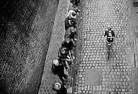 a MTN-Qhubeka rider enters the french town of Cassel<br /> <br /> 77th Gent-Wevelgem 2015