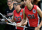 GER - Hannover, Germany, May 30: During the Women Lacrosse Playoffs 2015 match between DHC Hannover (black) and SC Frankfurt 1880 (red) on May 30, 2015 at Deutscher Hockey-Club Hannover e.V. in Hannover, Germany. Final score 23:3. (Photo by Dirk Markgraf / www.265-images.com) *** Local caption ***?Lilly Haus #31 of SC 1880 Frankfurt, Elena Leyendecker #33 of SC 1880 Frankfurt