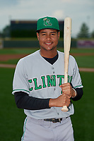 Clinton LumberKings Christopher Torres (2) poses for a photo before a Midwest League game against the Great Lakes Loons on July 19, 2019 at Dow Diamond in Midland, Michigan.  Clinton defeated Great Lakes 3-2.  (Mike Janes/Four Seam Images)